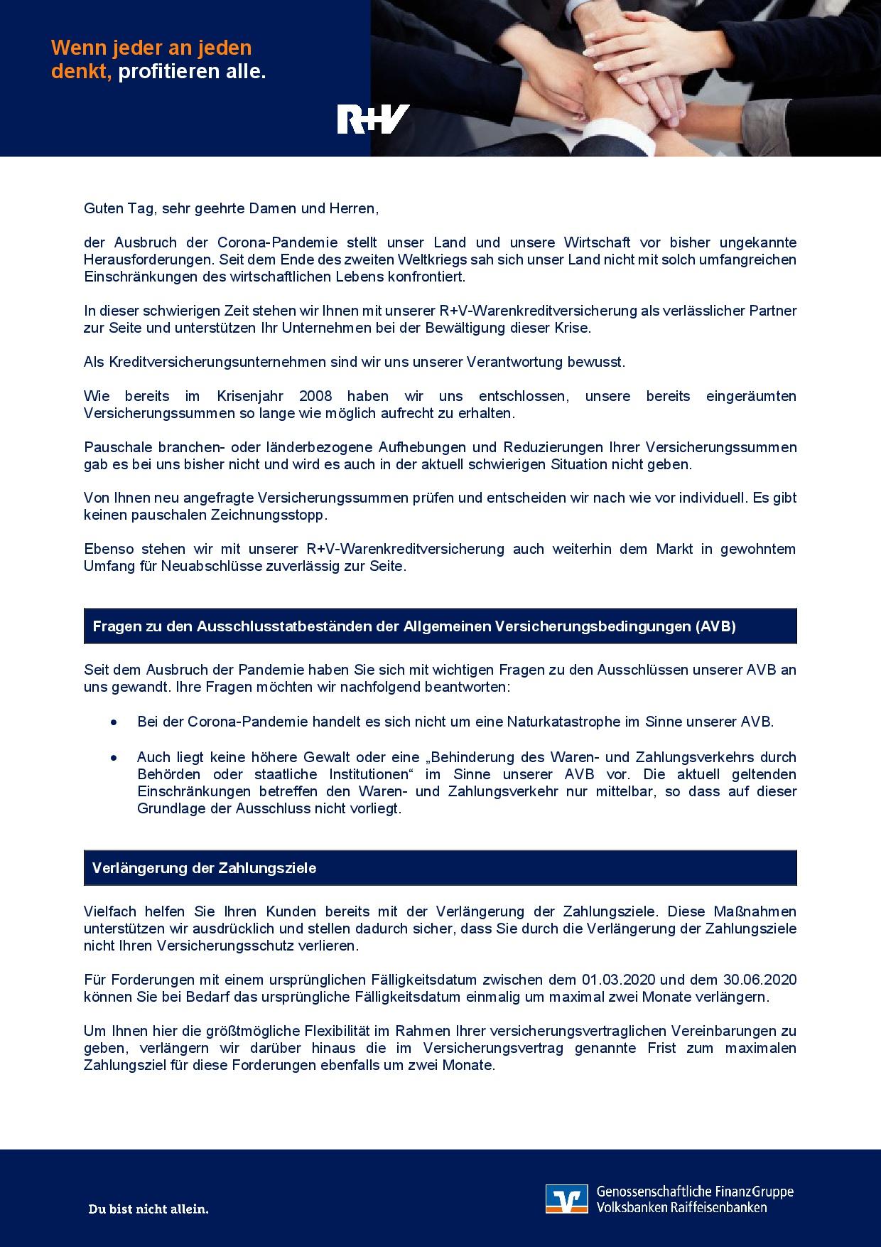 20200417 R+V Informationsschreiben Corona Kreditversicherung S1